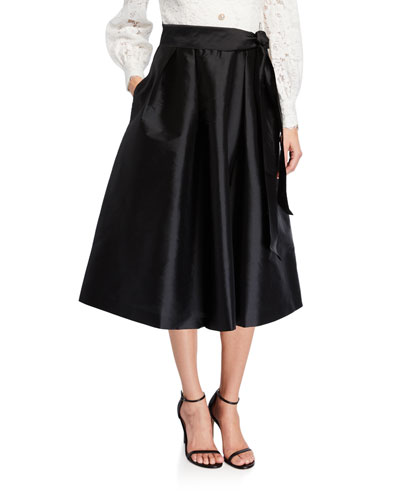 Lace-Bodice Long-Sleeve Dress w/ Taffeta Skirt