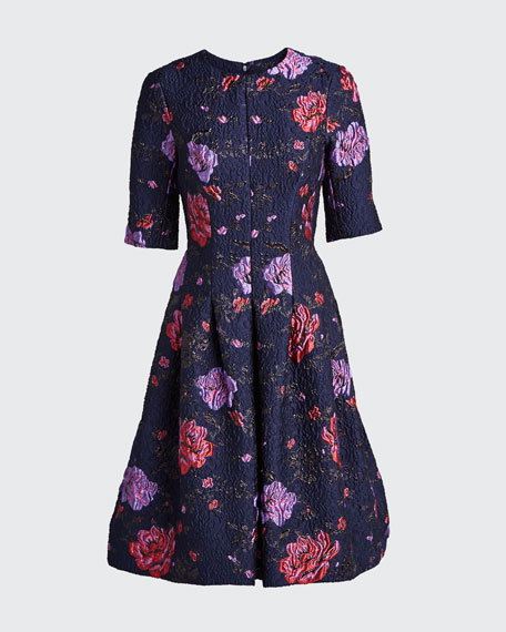 Metallic Floral Jacquard Elbow-Sleeve A-Line Dress