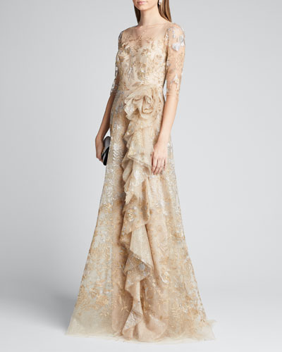 Metallic Lace Elbow-Sleeve Side-Ruffle A-Line Gown