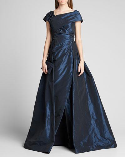 One-Shoulder Jewel Embellished Taffeta Ball Gown