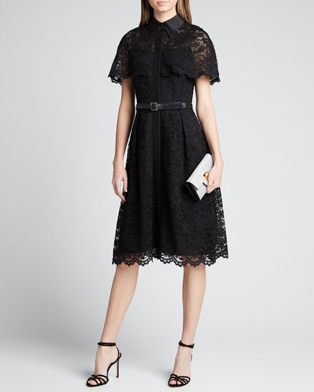 Short-Sleeve Capelet Lace Belted Shirtdress