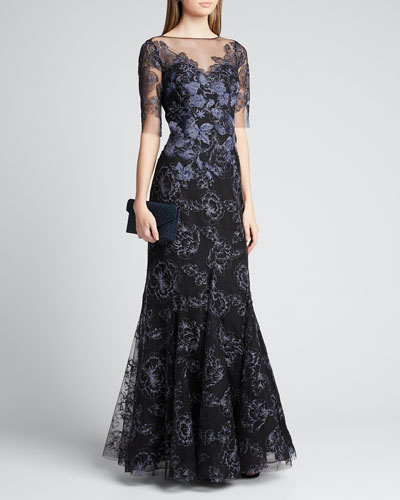 Embroidered Tulle Mermaid Gown w/ Illusion-Neck