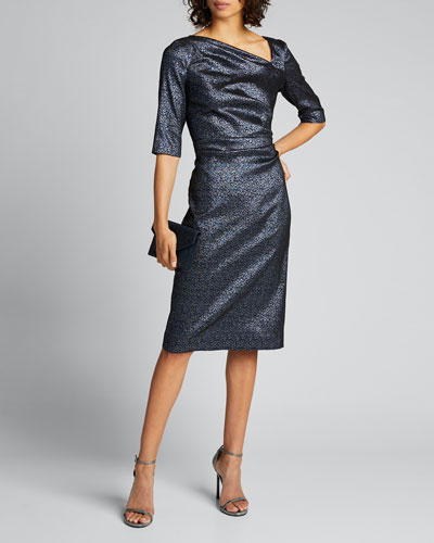 Stretch Metallic 1/2-Sleeve Tucked Bodice Sheath Dress