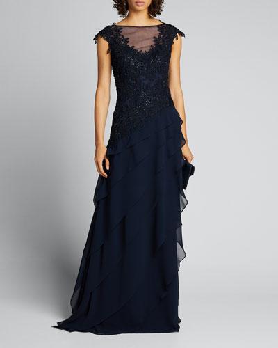 Beaded Cap-Sleeve Asymmetric Shutter Pleated Gown