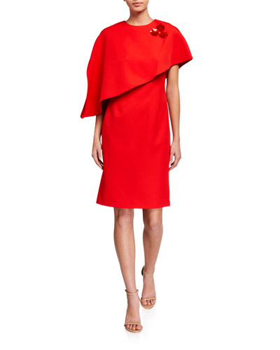 Crepe Asymmetrical Capelet Dress with Pins