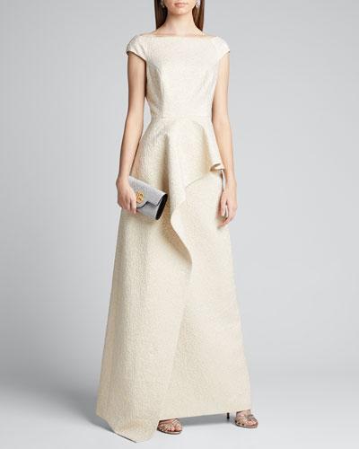 Bateau-Neck Cap-Sleeve Asymmetric Peplum Jacquard Gown