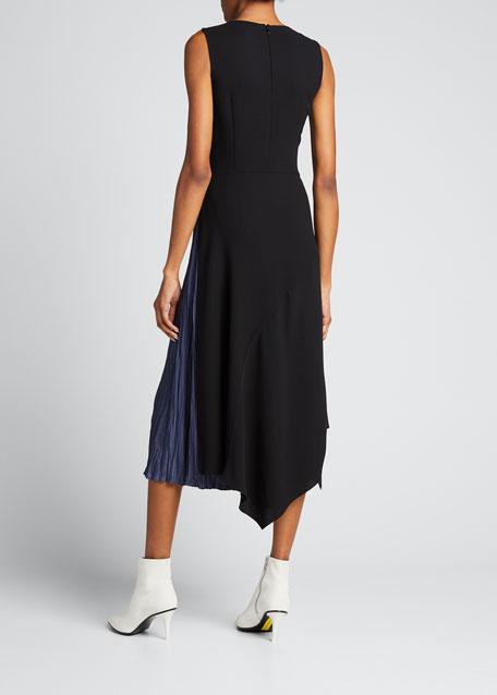 Mixed Panel Sleeveless Midi Dress