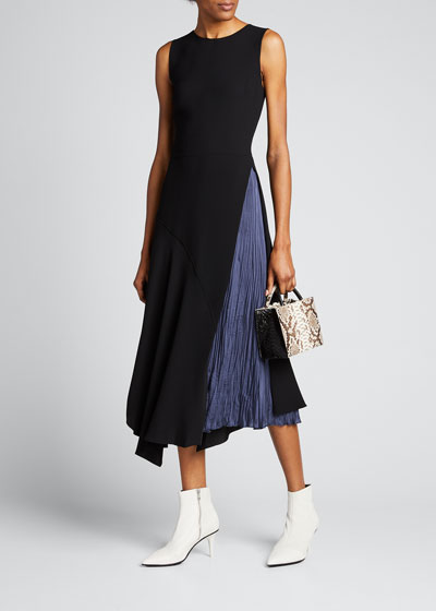 Mixed Panel Sleeveless Midi Dress
