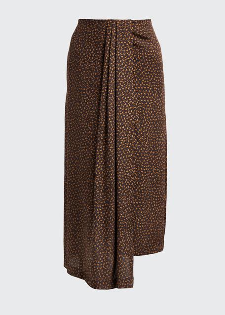 Star Dot Asymmetric Drape Skirt