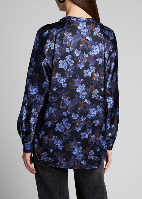 Plumeria Blooms Long-Sleeve Silk Blouse