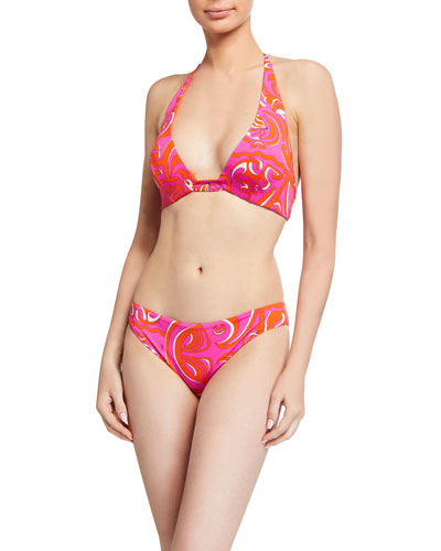 Printed Triangle Halter Bikini Top