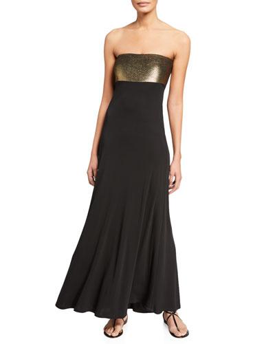 Strapless Metallic Column Coverup Dress