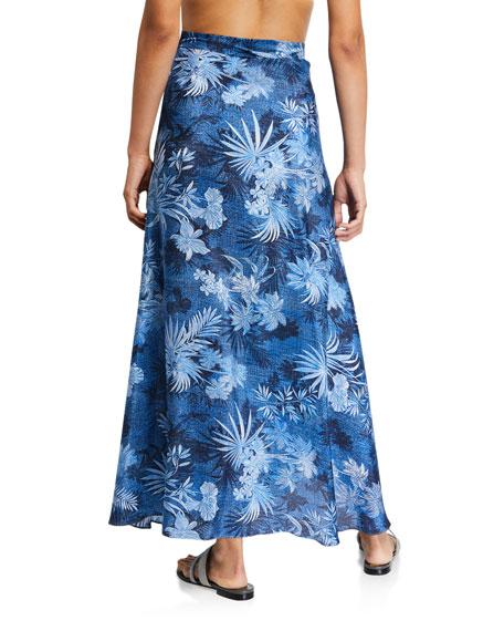 Printed Silk Wrap Coverup Skirt