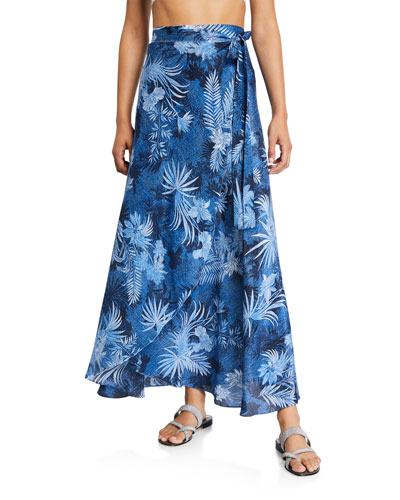 Printed Silk Wrap Coverup Skirt