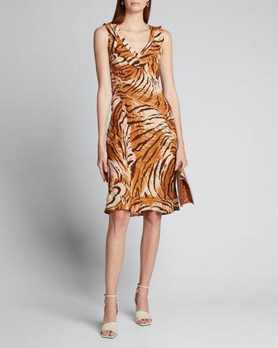 Fredrica Tiger-Print Georgette V-Neck Dress