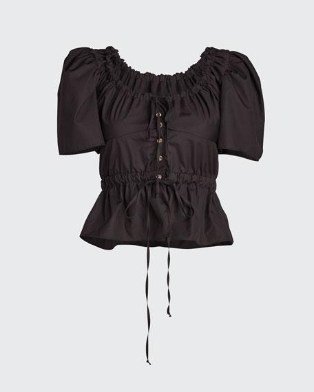 Ezio Button-Front Short-Sleeve Top