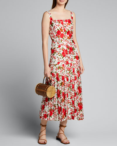 Amal Pleated Rose-Print Sleeveless Dress