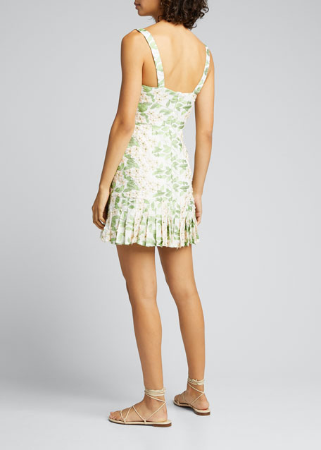 Tiri Embroidered Floral Pleated Mini Dress