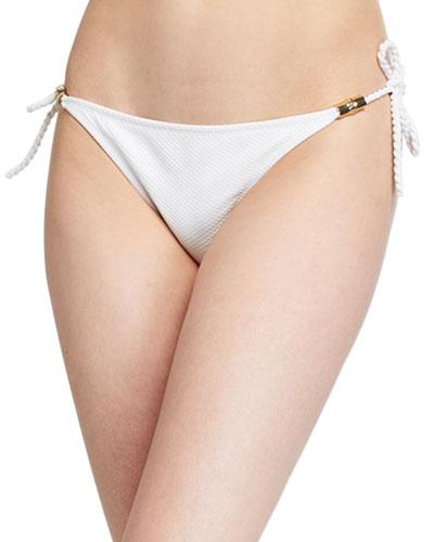 Core Textured Side-Tie Bikini Bottom