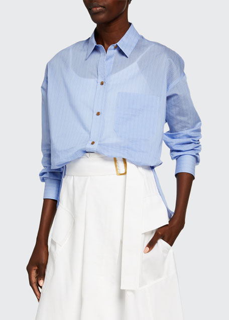 Image 1 of 1: Fine Stripe Boxy Long-Sleeve Button-Down Shirt