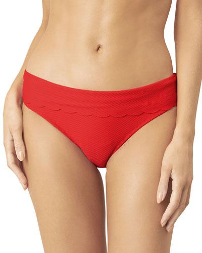 Scalloped Fold-Over Hipster Bikini Bottom