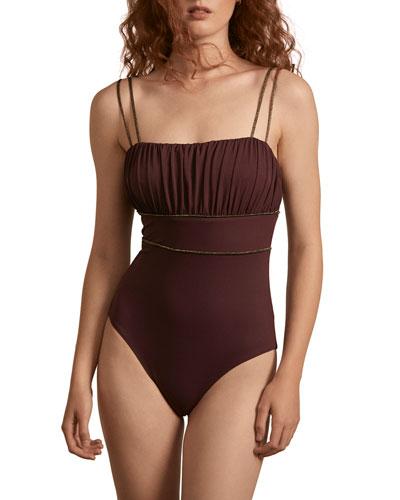 Manon Metallic-Piped Tie-Shoulder One-Piece Swimsuit