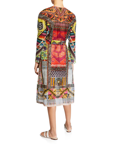 Patchwork Print Long-Sleeve Dress