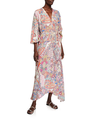 Allover Paisley Belted Kaftan
