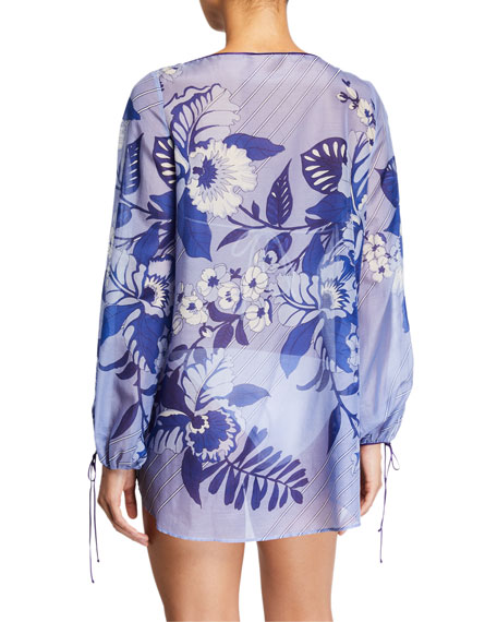 Jasine Cotton-Silk Kaftan Coverup Top