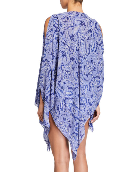 Boat-Neck Printed Coverup Poncho