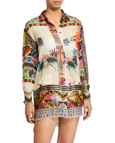 Patchwork Button Front Shirt with Pockets