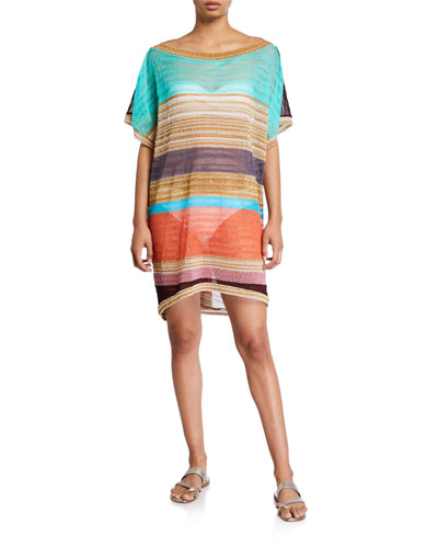 Striped Boat-Neck Short Coverup Caftan