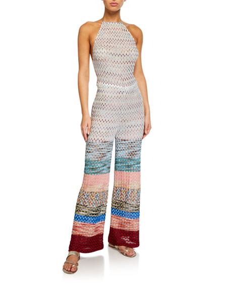 Wide-Stripe Printed Coverup Jumpsuit