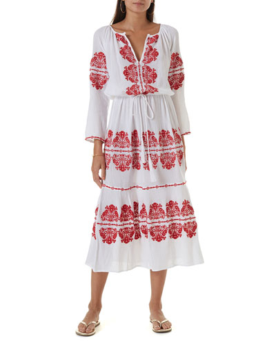 Lela Embroidered Cotton Gauze Dress