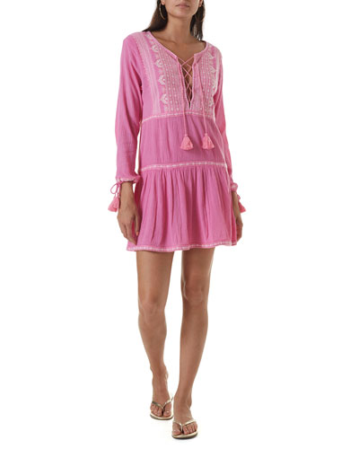 Millie Boho-Embroidered Cotton Dress