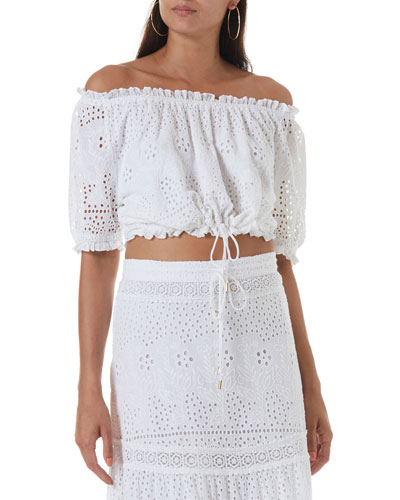 Francesca Off-the-Shoulder Eyelet Crop Top