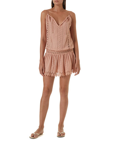 Chelsea Eyelet-Lace Halter Dress