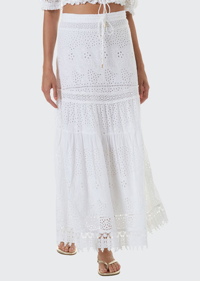 Alessia Tiered Eyelet Coverup Skirt