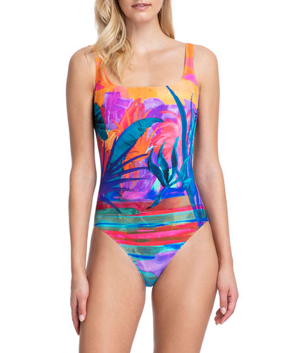 Indian Summer Square-Neck One-Piece Swimsuit