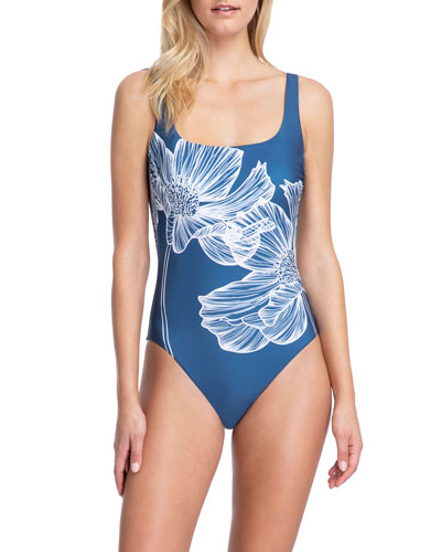 Lily Floral Square-Neck One-Piece Swimsuit