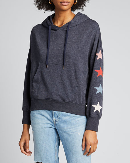 Star-Print Hooded Pullover Sweatshirt