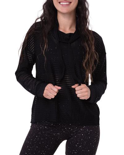 Mesh Cowl-Neck Peep Mesh Sweatshirt