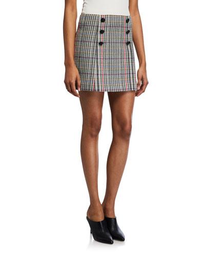 Starck Double-Breasted Plaid Mini Skirt