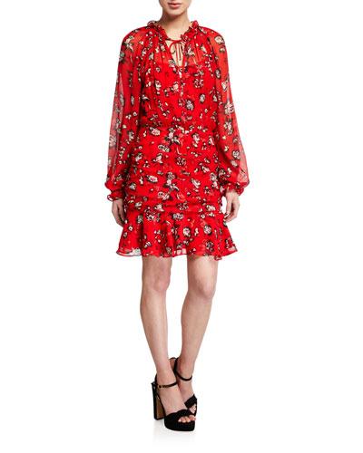 Alena Long-Sleeve Floral Flounce Dress