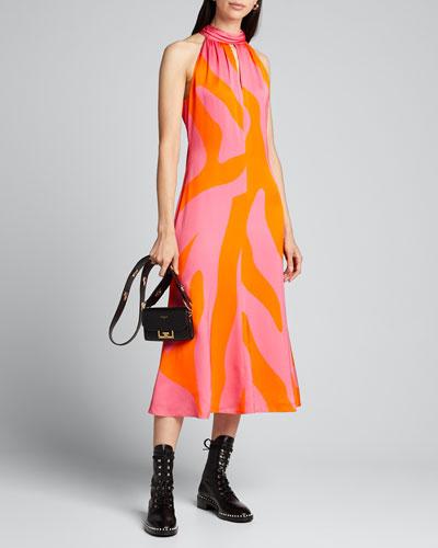 Adrian Zebra-Print A-Line Dress