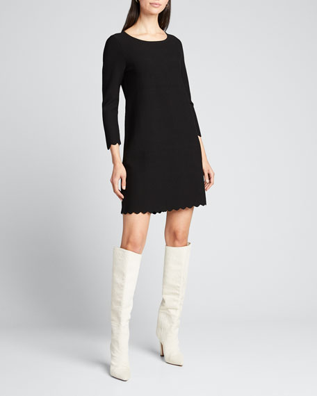 3/4-Sleeve Scallop A-Line Dress