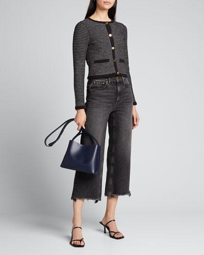 Cropped Tweed Knit Cardigan