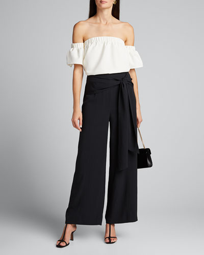 Tie-Waist Washed Chalky Twill Wide-Leg Pants