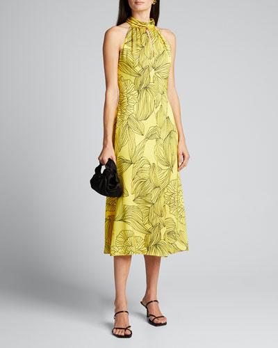 Adrian Printed Midi Halter Dress