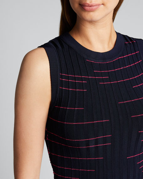 Striped Fit-&-Flow Sleeveless Dress